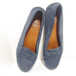 NWOB Aquatalia Sawyer blue suede penny loafers